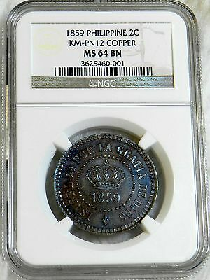 Philippines 1859 2C Pattern Km- Pn-12 Copper Ngc Ms 64 Bn Rare***look***