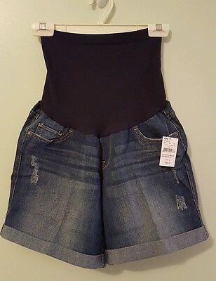 NWT Oh Baby Motherhood Maternity MEDIUM Denim Shorts JEAN Full Belly Panel 41215