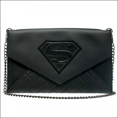 Superman Logo DC Comics Black Envelope Wallet Purse with Chain OFFICIAL LICENSED
