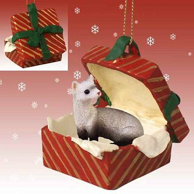 FERRET Pet RED Gift Box Holiday Christmas ORNAMENT