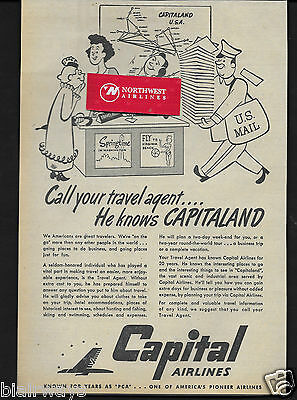 Capital Airlines 1946 The Travel Agent He Knows Capitaland For 20 Years  Ad