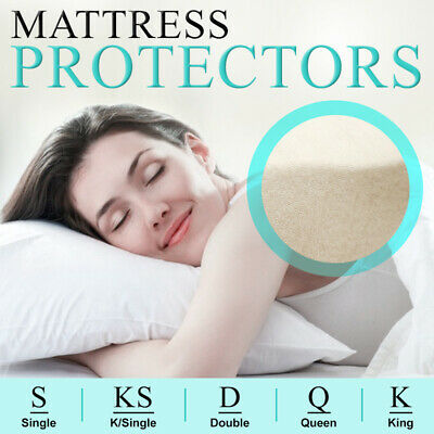 Fitted Cotton Blend Mattress Protector Single Double Queen King Cover Topper