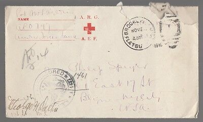 [57405] 1918 U.s. Postal Cover & Letter Red Cross American Expeditionary Force