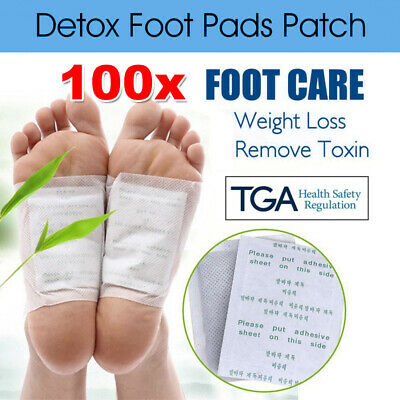 100 Pack Detox Foot Patch Pads Natural plant Toxin Removal +100 Sticky Adhesives