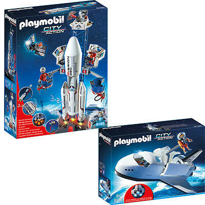 PLAYMOBIL® City Weltraum 2-tlg Set 6195 Weltraumrakete & 6196 Space Shuttle