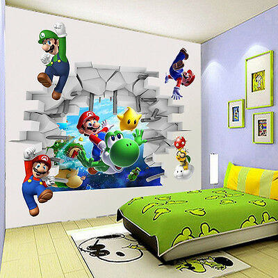 Super Mario Cracked Wall Decal Kids Boys Room Decor Mural 3D Wall Art Stickers