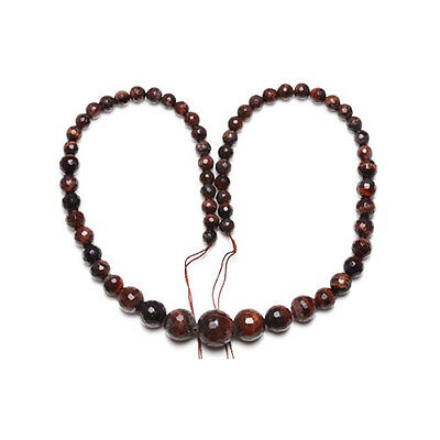 Strand Of 60+ Red/Brown Tiger Eye 6-14mm Faceted Graduated Round Beads CB26480