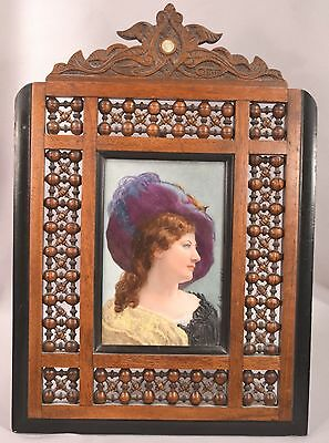 Beautiful Antique Painting On Porcelain Artist Signed Dated 1882 Lady Fancy Hat
