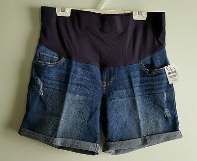 NWT Oh Baby Motherhood Maternity LARGE Denim Shorts JEAN Mid Belly Panel #41215