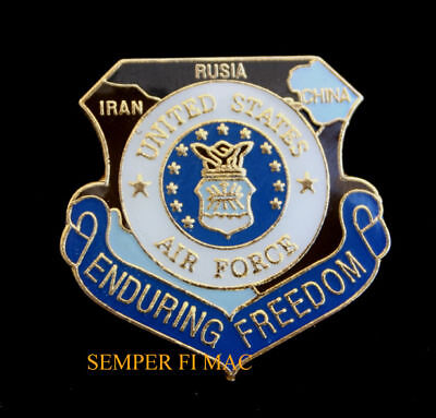 US AIR FORCE ENDURING FREEDOM HAT PIN OEF USAF AFB Afghanistan OSAMA OBL GIFT