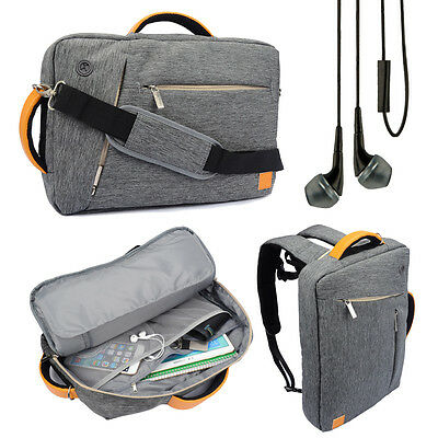 """Gray Backpack Messenger Bag Briefcase for Toshiba Satellite 17.3"""" Laptop +Earbud"""