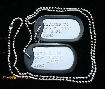 US MARINES CUSTOM 2 DOG TAGs NECKLACE CHAIN MCRD USS FMF MCAS MCB USMC AUTHENTIC