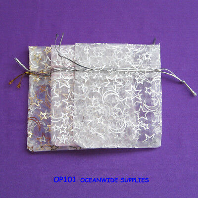 NEW 120 Organza Pouch-Moon & Star-7.5x9cm-Jewellery Gift Bag | AUSSIE Seller