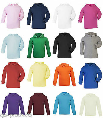 Baby Toddler Kids Boys Girls Plain Hoodie Hoody Hooded Top 100% Cotton Years 0-6