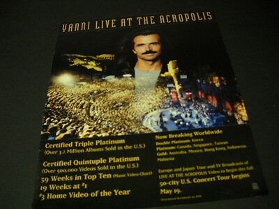 YANNI Live at the Acropolis in Greece 1995 PROMO POSTER AD mint condition