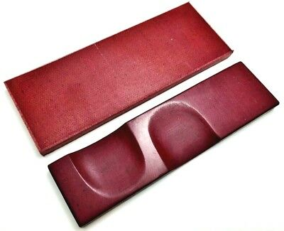 Pair of Red Canvas Micarta Scales Knife Handle Making Blanks Bush crafts 13x5cm