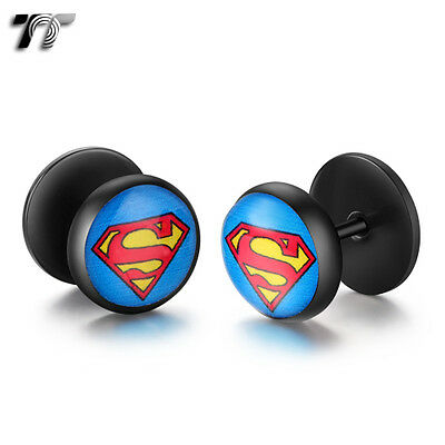 TT Clear Epoxy Black Stainless Steel Superman Fake Ear Plug Earrings (BD14) NEW
