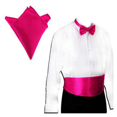 Men's Prom Wedding Satin Cummerbund Bowtie Pocket Square Hanky Formal Tuxedo Set