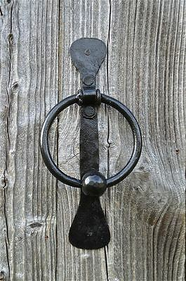 Hand Forged Solid Wrought Iron Ring And Ball Door Knocker Blacksmith Made Rb1