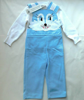 Vintage baby clothes BLUE RABBIT dungarees set bib brace trousers top UNUSED