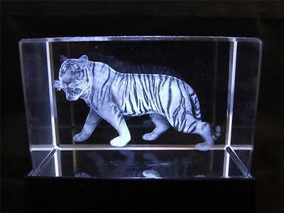 Solid Glass Crystal Laser Block and White Light Box - Chinese Zodiac Tiger.