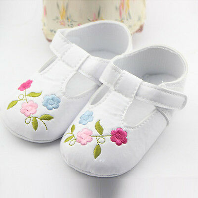 Hot Infant Baby Toddler Shoes Embroidered PU Leather Soft Cozy Girls Crib Shoes