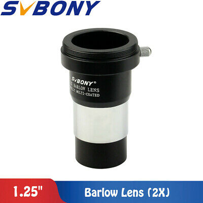 "New US SVBONY 1.25"" 2X Barlow Lens Telescope Eyepiece Astronomy/T Adapter Top MD"