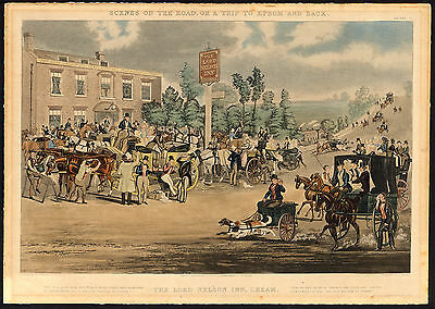 Antique Print-EPSOM-LORD NELSON INN-CARRIAGE-Harris-Pollard-1838