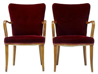 PAIR OF 1950's BIRCH RED VELVET ARMCHAIRS