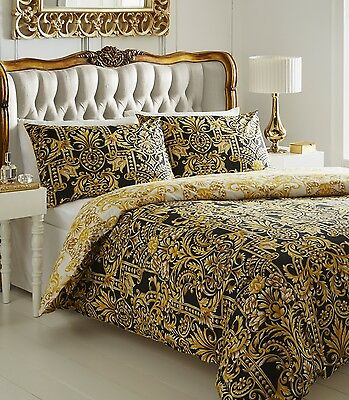 Luxury Milan Print Duvet Quilt Cover Bedding Linen Bed Set Black Gold Cream New