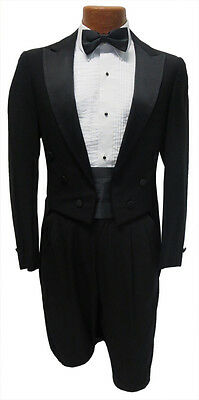 38R Black Tuxedo Peak Lapel Tailcoat Mardi Gras Tails Package Jacket Pants Tie