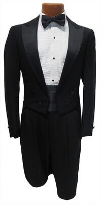 38R Black Tuxedo Peak Lapel Tailcoat Package Jacket Pants Tie Halloween Costume