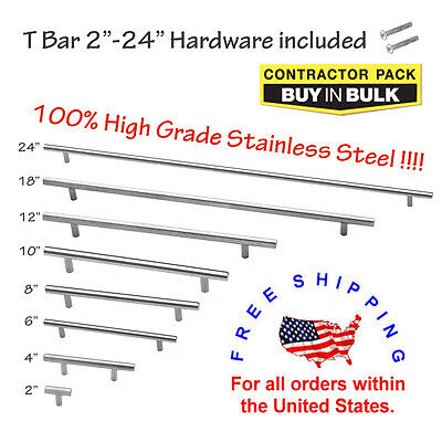 """2"""" 4"""" 6"""" 8"""" 10"""" 12"""" 18"""" 24"""" Stainless Steel Kitchen Cabinet Handles T Bar Pull"""