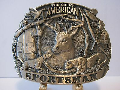 American Sportsman Whitetail Deer Mountain Lion Duck Hunting Brass Belt Buckle
