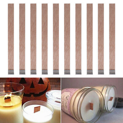 Hot 10Pcs Candle Wood Wick with Sustainer Tab Candle Making Supply 3 Sizes
