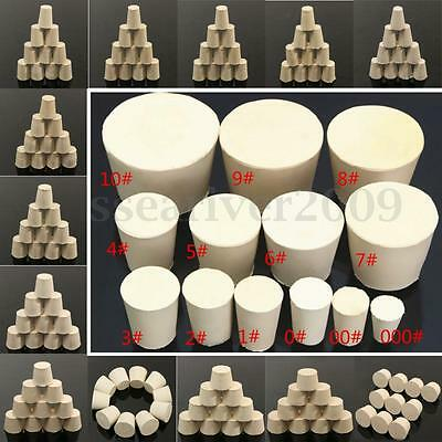 5/10pcs Laboratory Rubber Plug Stopper Bungs Flask Tapered Tube Solid White New