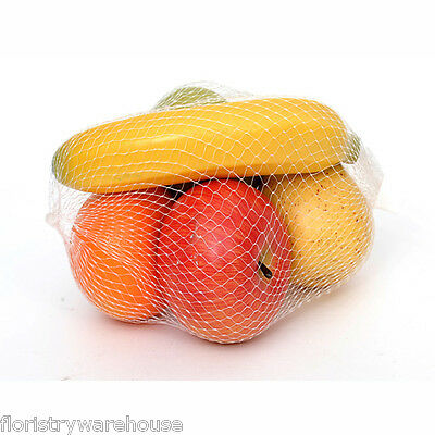 Mixed Life-size Artificial Fruit Apples, Pear and Banana in a Mesh Bag