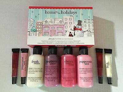 Philosophy Home For The Holidays Set Cream Peppermint Cherry Shower Gel Lipshine