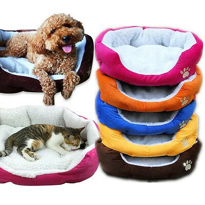 5 Colours Pet Dog Puppy Cat Nest Soft Fleece Bed House Plush Cozy Mat Pad M/L