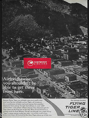 Flying Tiger Line 1,000 Small Towns To World Airfreight Specialist 1960's Ad