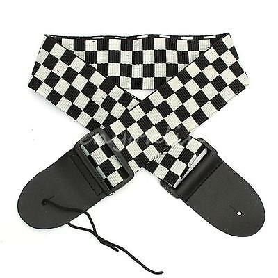Black White Guitar Strap Acoustic Bass Electric Checkered Nylon PU Leather Ends