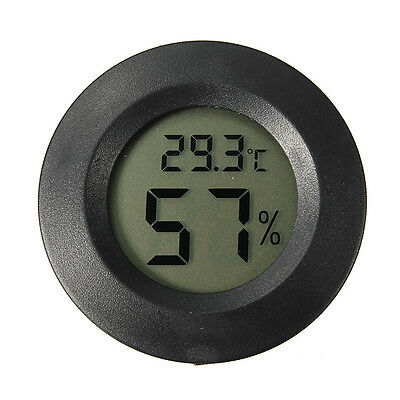 Digital Cigar Humidor LCD Hygrometer Thermometer Temperature Round Black Face