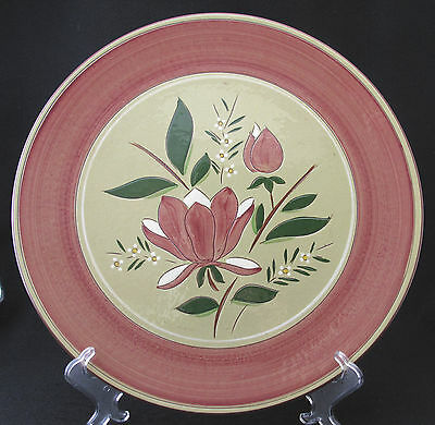 Stangl Magnolia 14 inch Round Platter Rust Edge and Blooms