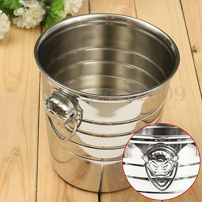 Stainless Steel Ice Container Barrel Bucket Beer Wine Cooler Champagne 18x19cm