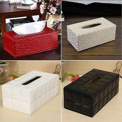 Practicl Home Car Rectangle PU Leather Tissue Box Cover Napkin Paper Holder Case