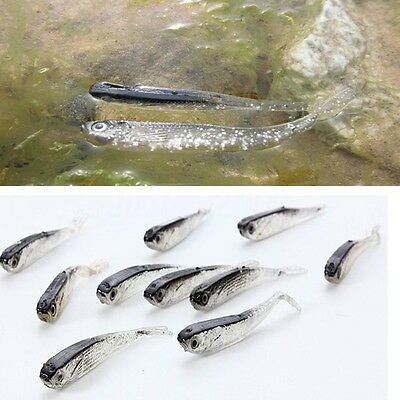 10pcs 80mm Soft Silicone Tiddler Bait Fluke Fish Fishing Lure Saltwater Lures