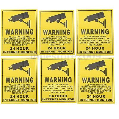 5pcs CCTV Security In Operation Camera Warning Sign Sticker Decal Surveillance