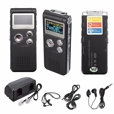 Rechargeable 8GB 650Hr Digital Audio/Sound/Voice Recorder Dictaphone MP3 Player