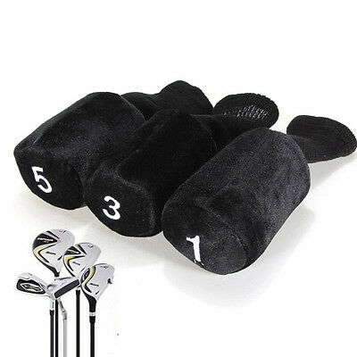 3 Pieces Protective Golf Club Head Covers Set Black Pack Protect Headcover New