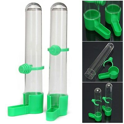 2x Bird Drinker Food Feeder Waterer With Clip For Aviary Budgie Lovebirds Canary